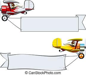 Cartoon Biplane - Vector Cartoon Biplane with banner....