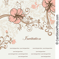 invitation card - floral invitation card with tree branch