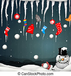 Merry Christmas  - Snowman with a snowball in the mittens