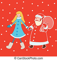 Santa Claus with snow Maiden in br