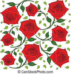 pattern of red roses with green leaves on the stem, on a...