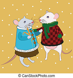 love mouse in bright clothes under
