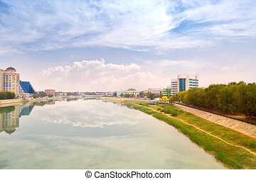 Atyrau. Municipal landscape - Modern houses on the riverside...