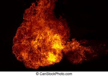 fogo, explosão, fogo, chamas, fundo