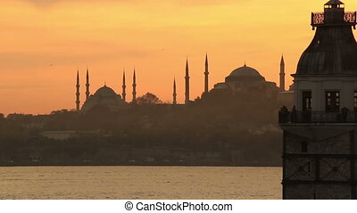 Maiden Tower - close up Maiden Tower at sunset time pan...