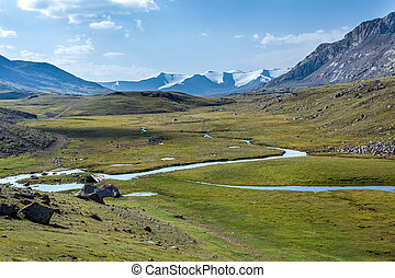 River in mountain valley. Kirgizstan - River in mountain...