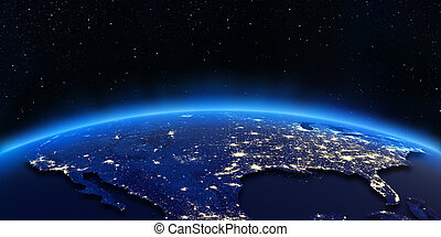 USA city lights map Elements of this image furnished by NASA...