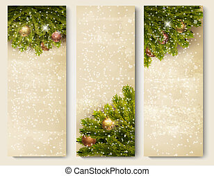 Three retro holiday banners with christmas tree branches....