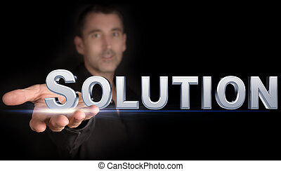 solution - man with a solution icon in his hand