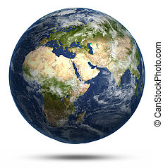 Planet Earth white isolated Earth globe model, maps courtesy...