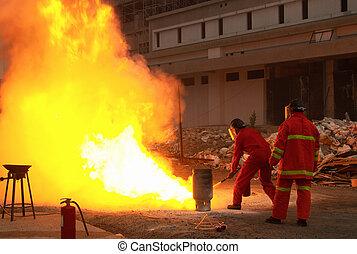 bomberos, acción, después, gas,...