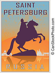 Saint Petersburg vintage poster in orange and blue textured...
