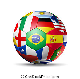 Brazil 2014,football soccer ball with world teams flags - 3D...