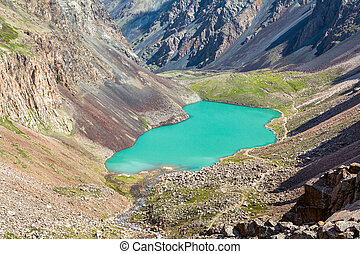 Majestic mountain lake in Tien Shan, Kirgizstan - Majestic...