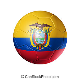 Soccer football ball with Ecuador flag - 3D soccer ball with...