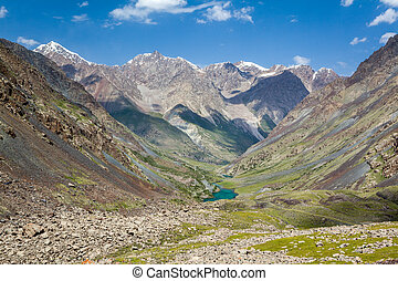 Mountain landscape with lake. Tien Shan, Kyrgyzstan