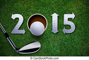 Happy New Golf year 2015, Golf ball and putter on green...