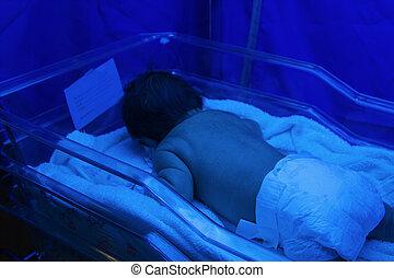 recién nacido, Incubadora, lámpara, Ultravioleta, debajo,...