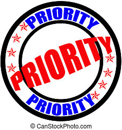 Priority - Stamp with word priority inside, vector...