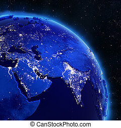 Asia city lights from space. Elements of this image...