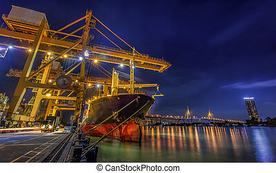 Container Cargo freight ship - Landscape of Container Cargo...
