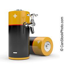 bateria, torneira