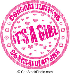 Its a girl - Stamp with text its a girl inside, vector...