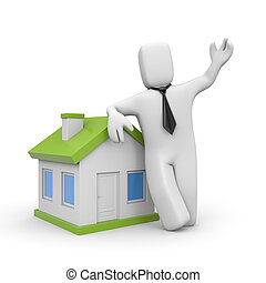 Businessman with home Loan metaphor - Business concept...