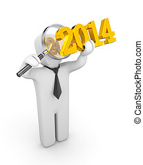 Businessman with magnify glass examines new year