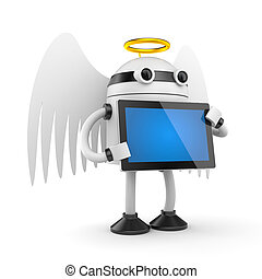 Robot angel with PAD - Conceptual image. Isolated on white