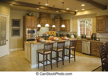 Modern Kitchen - Modern kitchen with island and breakfast...