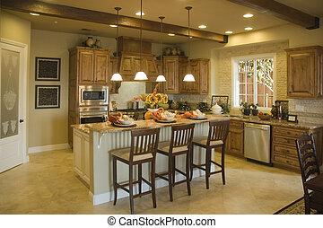 Modern Kitchen - Modern kitchen with island and breakfast...