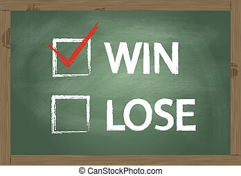 Blackboard with check mark for win or lose vector