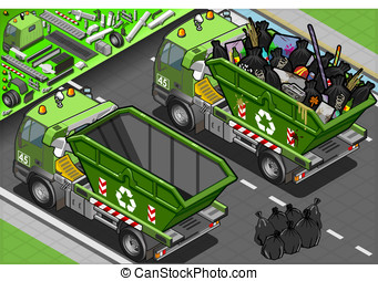 Isometric Garbage Truck with Container in Rear View -...