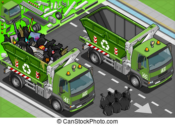 Isometric Garbage Truck with Container in Front View -...