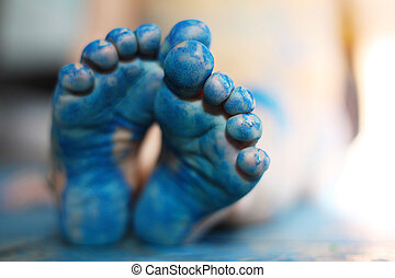 Little Childs Blue Painted Feet - a close up on the bottom...