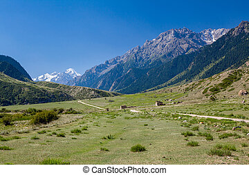 Rural landscape in Tien Shan mountains, Kirgizstan