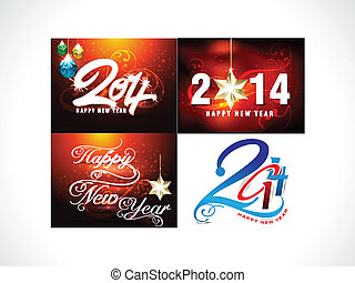New Year Background Set Vector illustration
