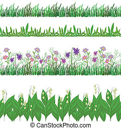 Grass and flowers, set seamless - Set seamless of flowers...