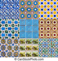 Set of Portuguese Tiles - Set of Portuguese Ceramic Tiles -...