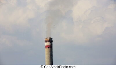 Power station smoke stack polluting the air