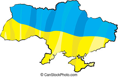 ukraine - map and flag - ukrainian borderline with national...