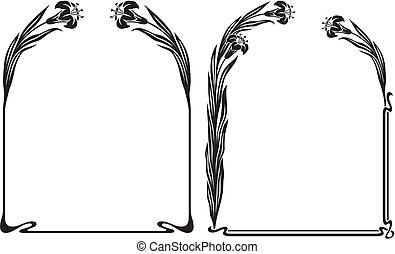 art deco - iris frame - black and white art nouveau floral...