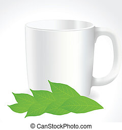 Fresh, green tea leaves on a white background with cup...