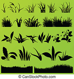 Grass and plants detailed silhouettes illustration...