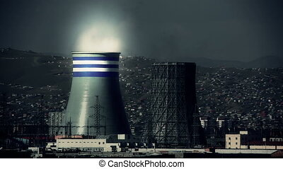 Power station and Ulaanbaatar cityscape, retouched - Toned...