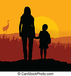 Mother with daughter landscape vector background
