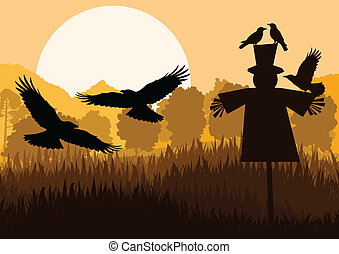 Scarecrow with flying crows in autumn countryside field...