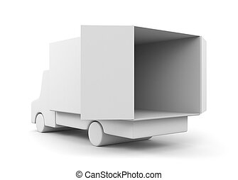 Moving truck - Transportation and shipping Isolated on white...
