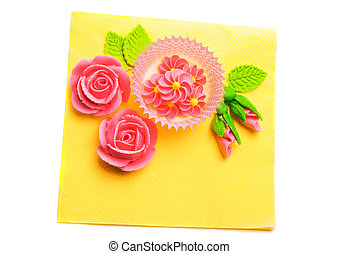 Bright decoration in happy colors - Sweet marzipan roses on...